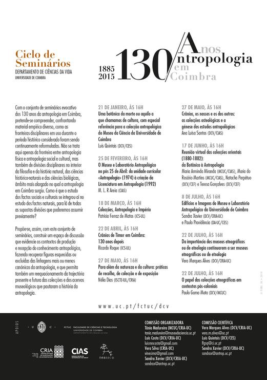 Programa 130 anos de Antropologia em Coimbra