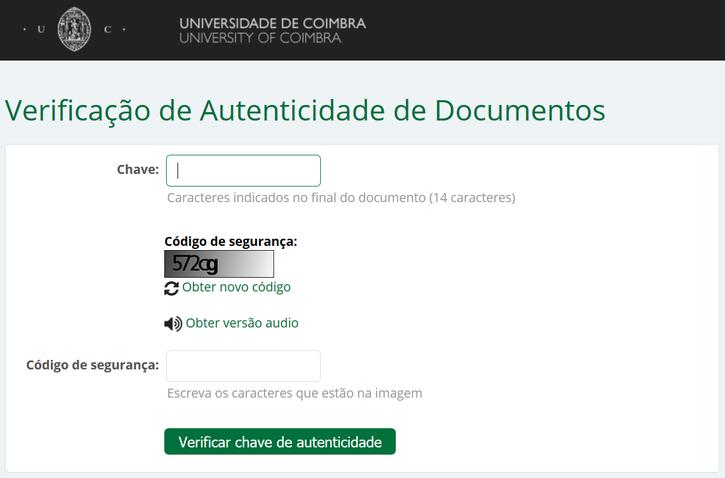 Autenticação de Certidões Electrónicas na UC