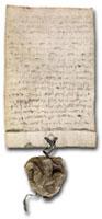"""Diploma de D. Dinis de fundação do """"Estudo Geral"""" (Leiria, 1 de Março 1290)"""
