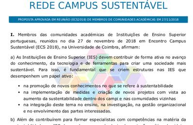 Capa da Decisão de criar uma Rede Campus Sustentável