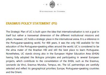 UC Erasmus Policy Statement