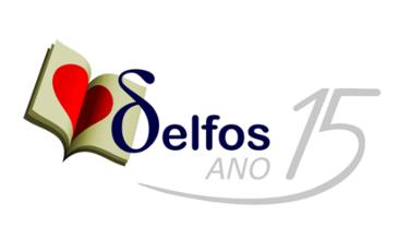 Logotipo comemorativo dos 15 anos do Delfos