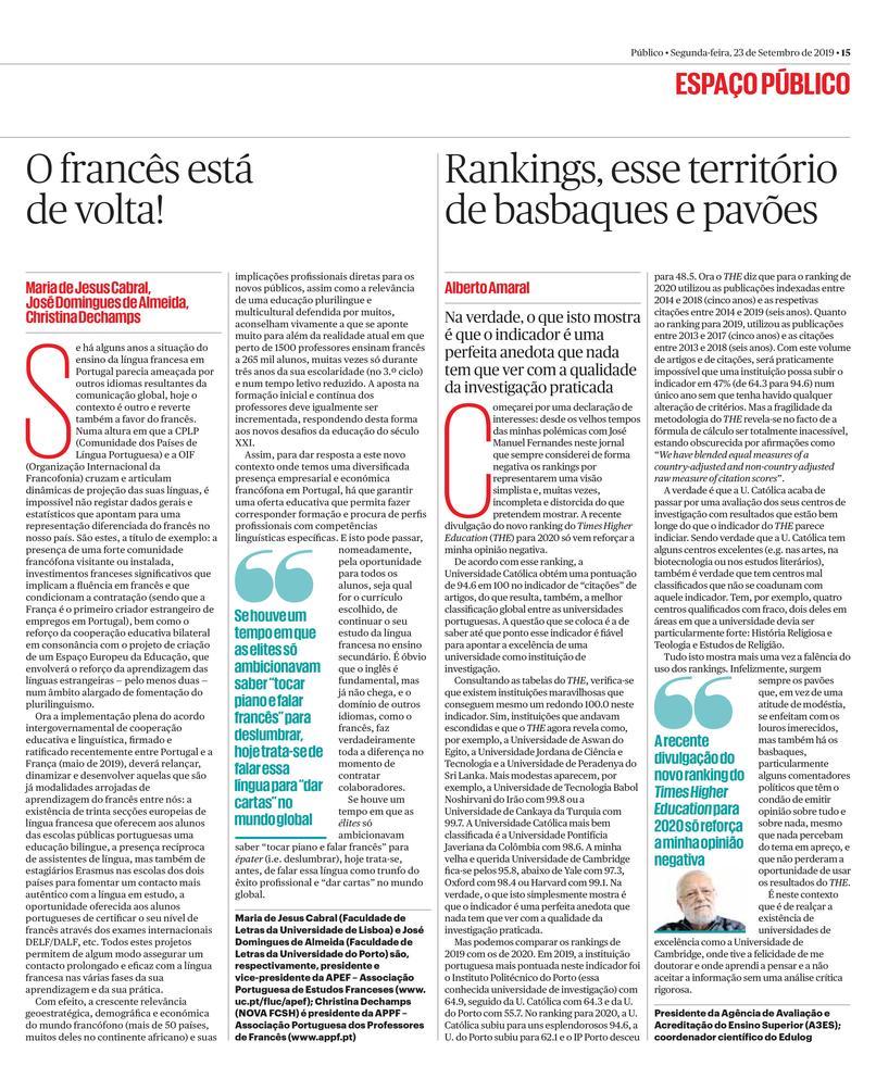 """"""" O Francês está de volta! Público , 23/09/2019"""