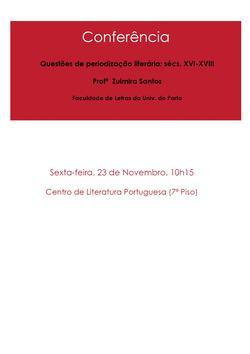 Cartaz - Zulmira Santos: Questões de periodização literária: sécs. XVI-XVIII