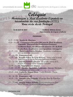 Cartaz - Colóquio «Homenagem à Real Academia Española»