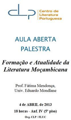 Cartaz - Formação e Atualidade da Literatura Moçambicana
