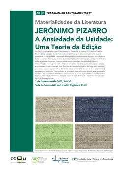 Cartaz - Seminário das Materialidades da Literatura Jerónimo Pizarro