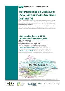 Cartaz - Materialidades da Literatura: O que são os Estudos Literários Digitais? [1]
