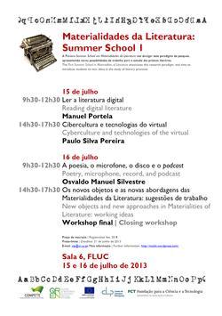 Cartaz - Materialidades da Literatura: Summer School I
