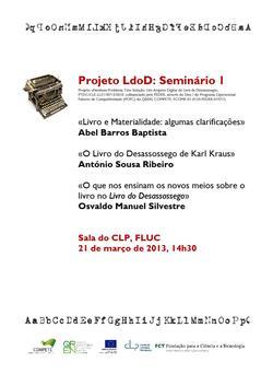 Cartaz - Seminário I sobre o LdoD