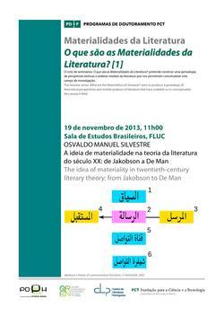 Cartaz - Materialidades da Literatura: O que são as Materialidades da Literatura? [1]