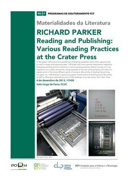 Cartaz - Seminário das Materialidades da Literatura Richard Parker