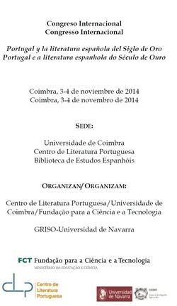 Cartaz - Congresso Internacional: Portugal e a literatura espanhola do Século de Ouro