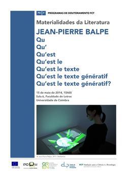 Cartaz - Jean-Pierre Balpe: «Qu'est le texte génératif?»