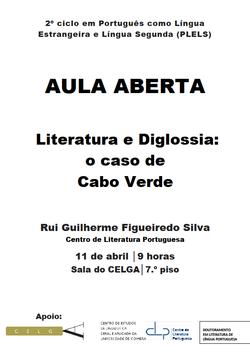 Cartaz-Aula Aberta Literatura e Diglossia: o caso de Cabo Verde