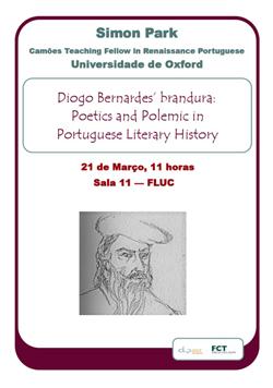 Cartaz_Seminário Diogo Bernardes' brandura: Poetics and Polemic in Portuguese Literary History
