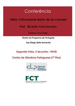 Cartaz_Conferência Editar Criticamente Mário de Sá-Carneiro