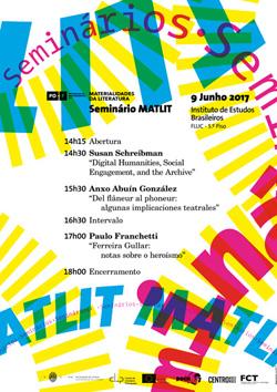 Cartaz_Seminário MatLit com Susan Schreibman, Anxo Abuín González e Paulo Franchetti