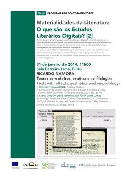Cartaz - Ricardo Namora: 'Textos com efeitos: estética e «e-filologia»'