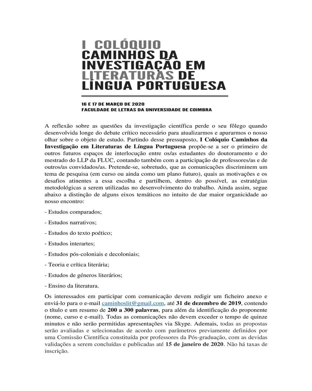 1º Colóquio Caminhos da Investigação em Literaturas de Língua Portuguesa_cartaz