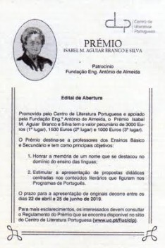 Prémio Isabel M. Aguiar Branco e Silva no JL