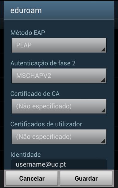 Configurações eduroam em Ambiente Android #1