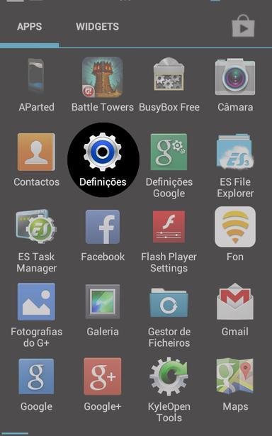Botão de Definições em Ambiente Android