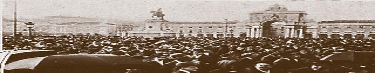Espetáculo de rua no Terreiro do Paço, em Lisboa (1908)
